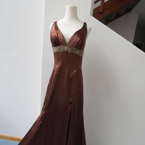 A-line Brown Gown